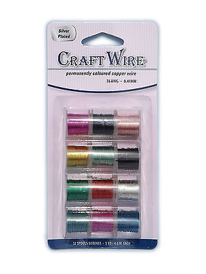 Set of 12 Coloured Copper Wire Reels